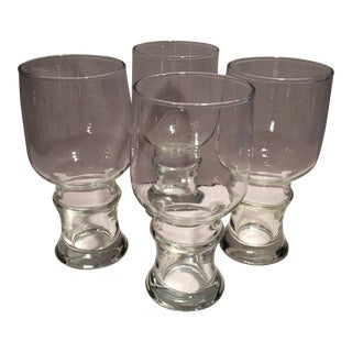 Vintage Pulley Bottom Lager Glasses - Set of 4