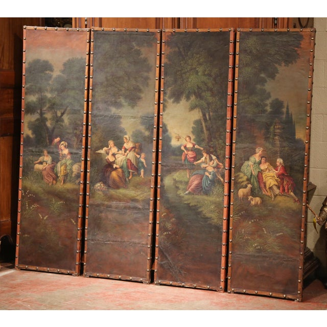 This delicate, colorful leather screen was created in France, circa 1760. Each of the antique, hand painted panels...