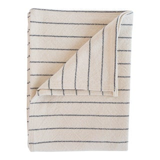 Cotton Pinstripe Throw in Midnight For Sale