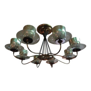 Mid-Century Gearld Thurston for Lightolier Brass, Iron and Glass Chandelier For Sale