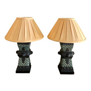 20th Century Primitive Style Ceramic Vase Table Lamps - a Pair For Sale