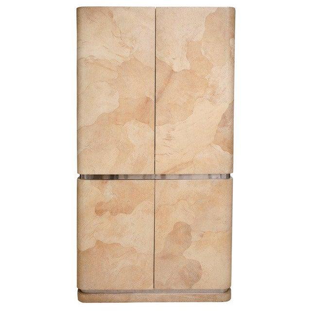 Rare Karl Springer Goatskin, Stainless Four-Door Tall Cabinet For Sale - Image 11 of 11