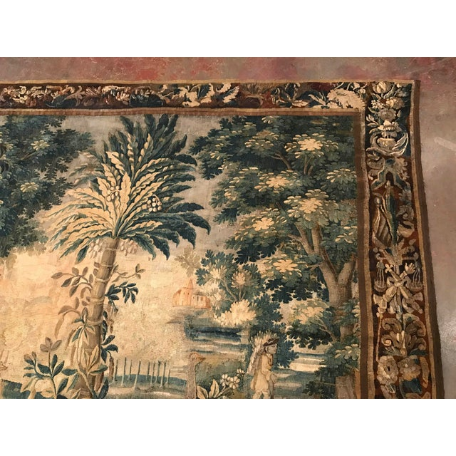Large 18th Century French Aubusson Tapestry with Trees Birds and People - Image 3 of 11