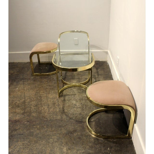 DIA - Design Institute America Brass Console Cafe Table With Pink Chairs by Dia Design Institute of America For Sale - Image 4 of 8