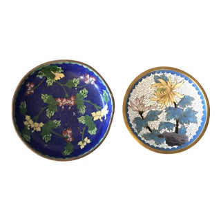 Cloisonné Vanity Small Bowls - A Pair For Sale