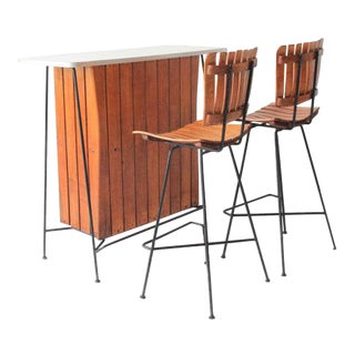 Arthur Umanoff for Raymor Bar and Bar Stools Set For Sale