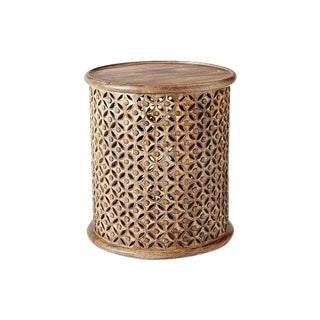 West Elm Carved Wood Side Table