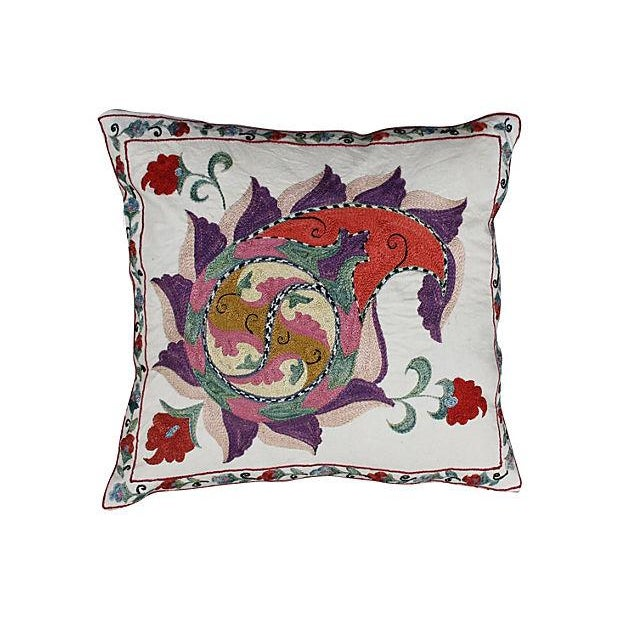 Silk-Embroidered Purple Uzbek Pillow For Sale