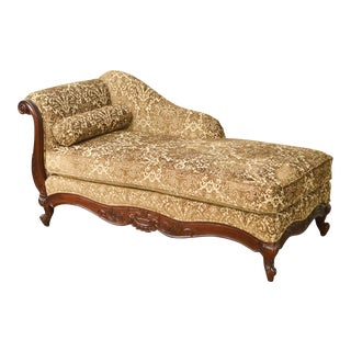 Kravet Custom Upholstered French Louis XV Style Recamier Chaise Lounge