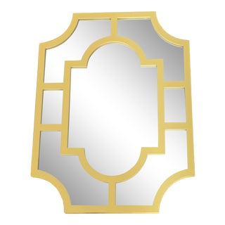 Asian Chinoiserie Style Bold Yellow Wall Mirror For Sale