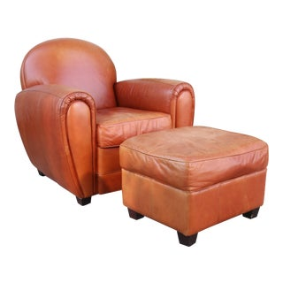 Vintage Burnt Orange Leather Club Chair and Ottoman For Sale