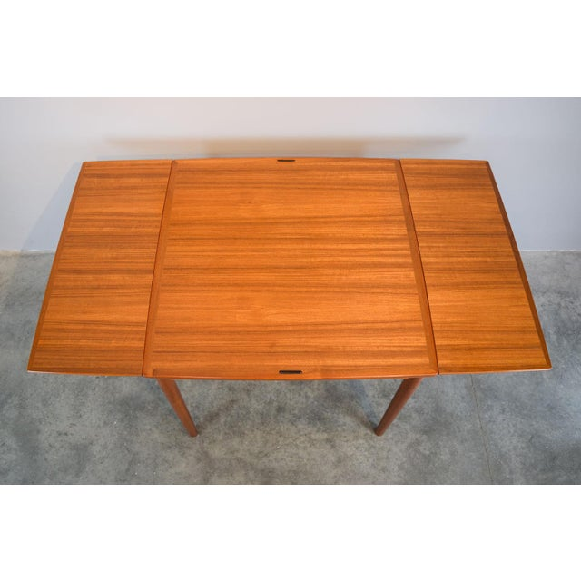 Carlo Jensen Expanding Small Danish Teak Dining Table or Game Table For Sale In Portland, ME - Image 6 of 13