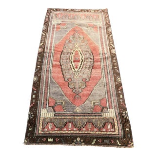 Vintage Faded Red Turkish Decorative Rug- 2′9″ × 5′9″ For Sale
