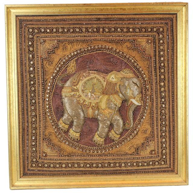 Hand Made India Beaded Elephant Raised Wall Art ONE OF A KIND Glass seed beads Mirrr seed beads