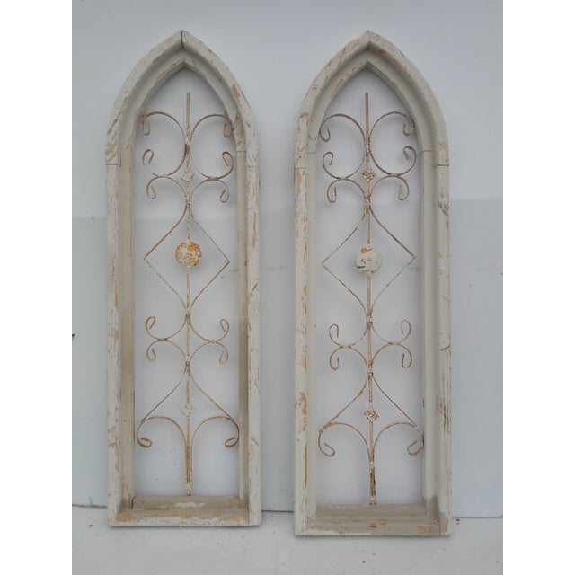 Rustic Farmhouse Cathedral Grill Shabby Window Wall Hangings - a Pair For Sale In Philadelphia - Image 6 of 7