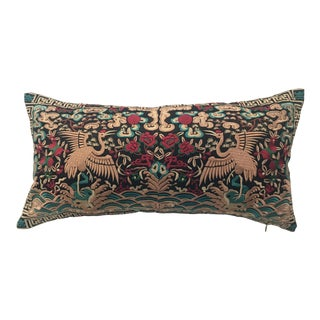 Hollywood Regency Black & Gold Silk Embroidered Chinoiserie Boudoir Lumbar Pillow For Sale