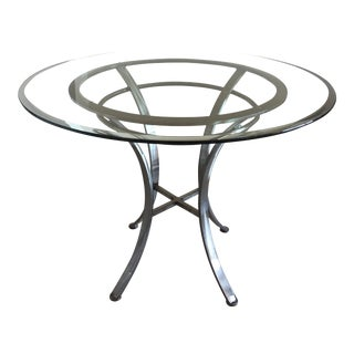 Glass Top and Pewter Base Round Dining Table