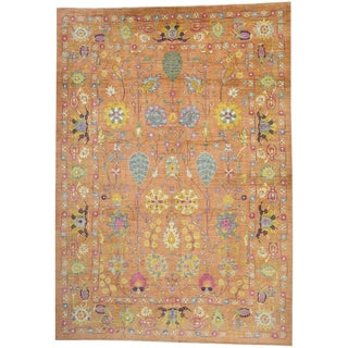 Orange Turkish Oushak Oversized Area Rug - 13'08 X 19'03 For Sale