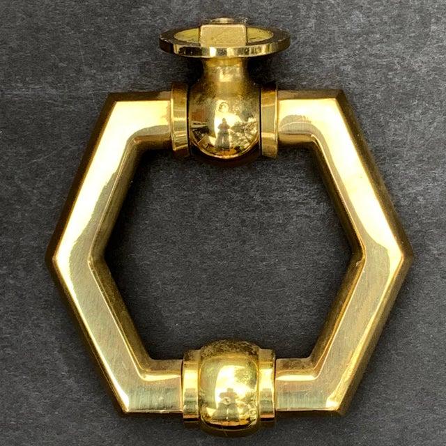 Metal Italian Brass Hexagonal Ring Door Knocker For Sale - Image 7 of 11