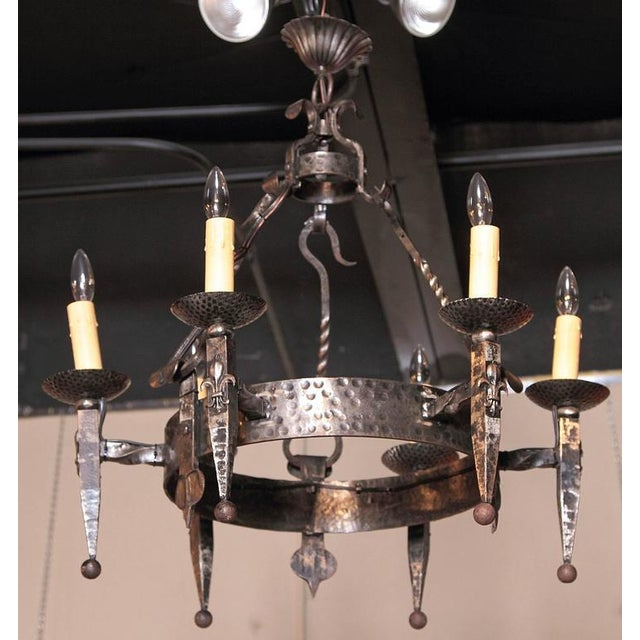 Gothic Early 20th Century French Wrought Iron Six-Light Chandelier With Fleur-De-Lys For Sale - Image 3 of 10