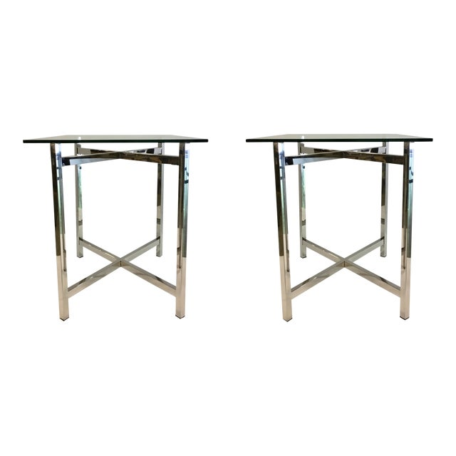 Contemporary Rectangular Chrome And Glass End Tables Pair