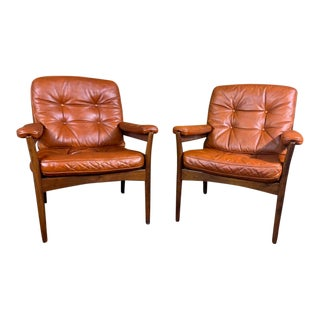 Vintage Gote Mobler Mid-Century British Tan Leather Carmen Armchairs - a Pair For Sale