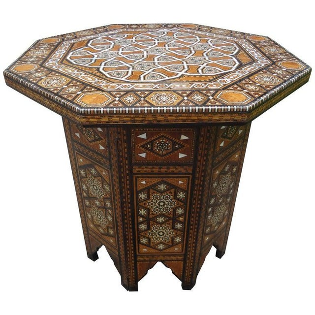 Antique Middle Eastern Arabesque Style Mother of Pearl Inlaid Table For Sale - Image 13 of 13