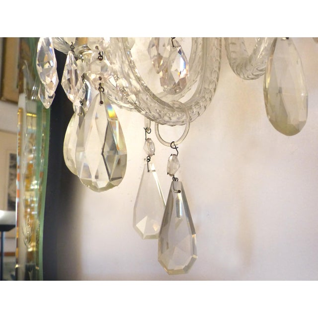1940s Crystal & Bronze 1940's Three Arm Wall Electrified Wall Sconces - a Pair For Sale - Image 5 of 9