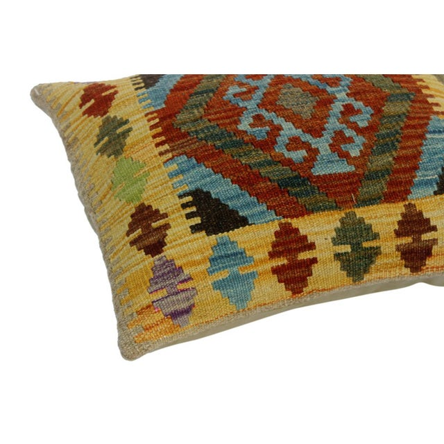 """Asian Christen Gold/Lt. Blue Hand-Woven Kilim Throw Pillow(18""""x18"""") For Sale - Image 3 of 6"""