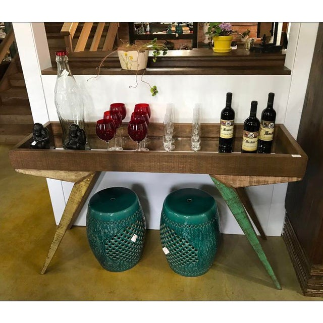 Blue Reclaimed Wood Mirrored Tray Table For Sale - Image 8 of 9
