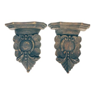 20th Century Shabby Chic Carved Wood Shelves - a Pair For Sale