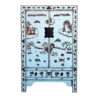 19th Century Chinese Lacquer & Gilt Wooden Wedding Armoire For Sale