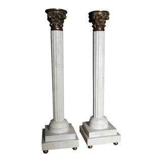 Tessellated Bone & Brass Corinthian Column Candle Holders - A Pair