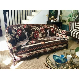 Antique French Serpentine Sofa Upholstered in Antique Karabagh Peacock Kilms Preview