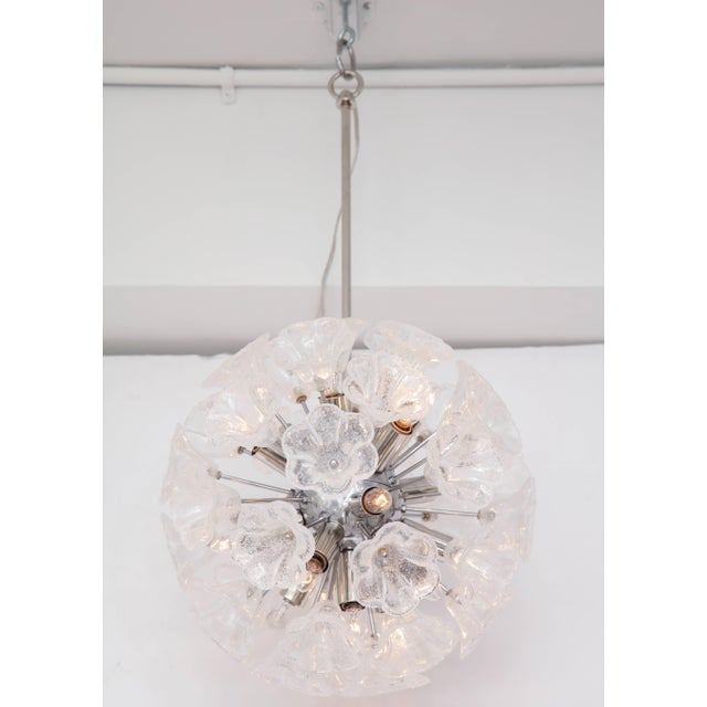 Metal Italian Floral Glass Sputnik Chandelier For Sale - Image 7 of 11