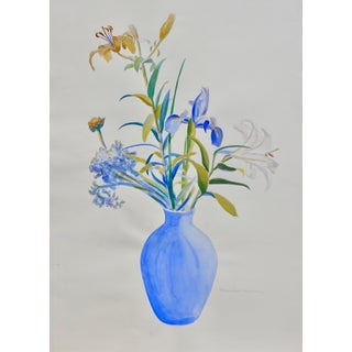 Contemporary Drawing, French Flowers in a Blue Vase For Sale