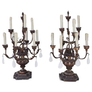Rock Crystal Candelabras - A Pair For Sale