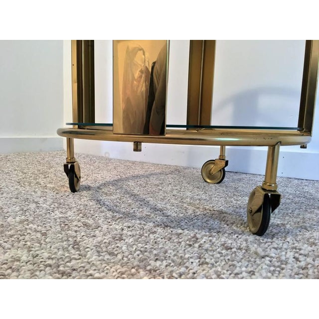 Italian Modernist Design Round Polished Brass Bar Cart - Image 3 of 9