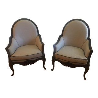 Bergere Style Armchairs - A Pair For Sale