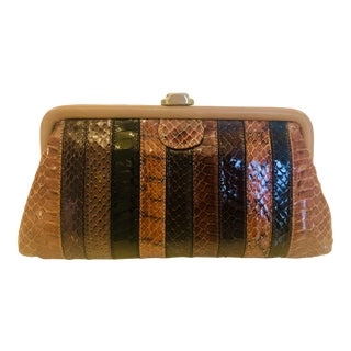 1980s Vintage Patrizia Multicolored Striped Python Clutch For Sale