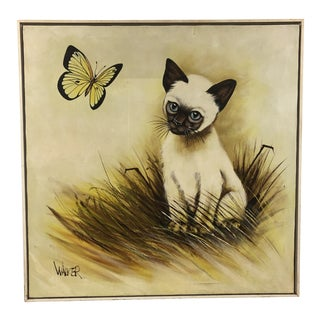 Vintage Mid Century Modern Siamese Cat Oversized Oil Painting For Sale