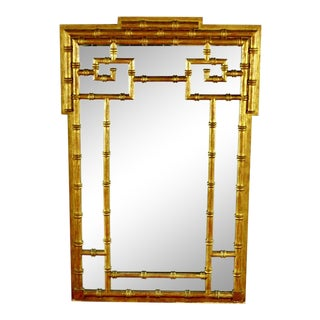 1970s Vintage La Barge Gold Faux Bamboo Mirror For Sale
