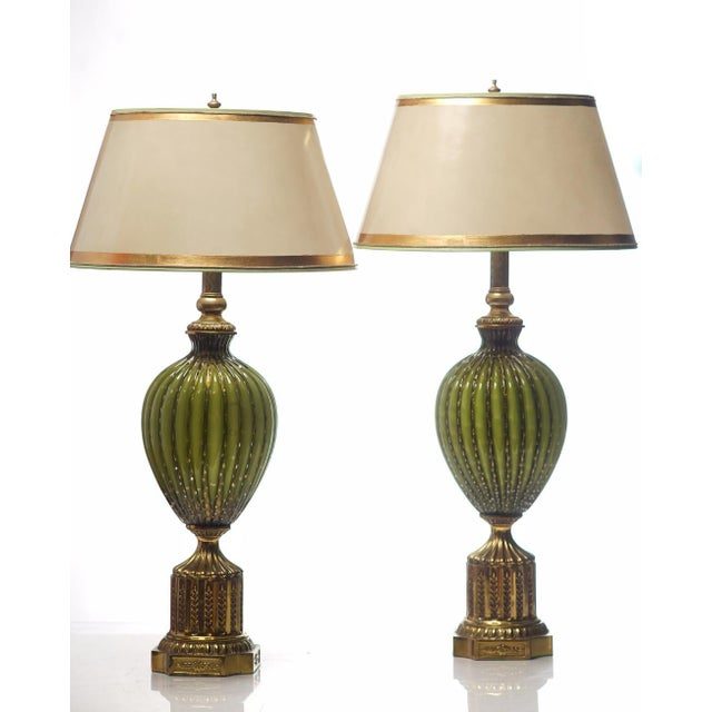 Vintage Italian Green and Gold Murano Lamps - a Pair For Sale - Image 4 of 4