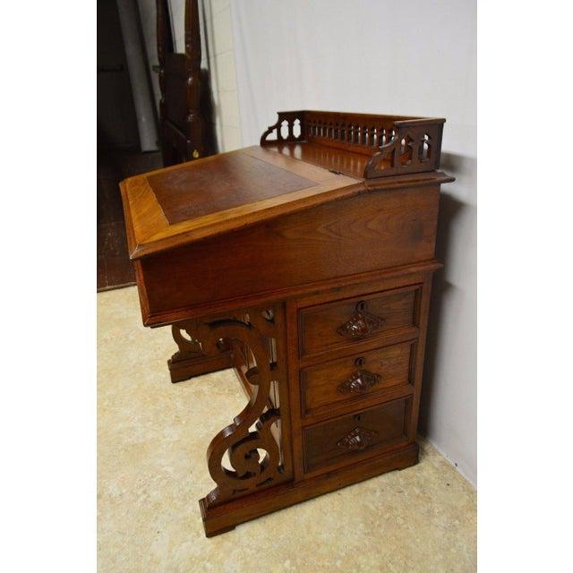 Antique Victorian 1800's Walnut Captain's Davenport Ladies Secretary Desk -  Image ... - Antique Victorian 1800's Walnut Captain's Davenport Ladies Secretary