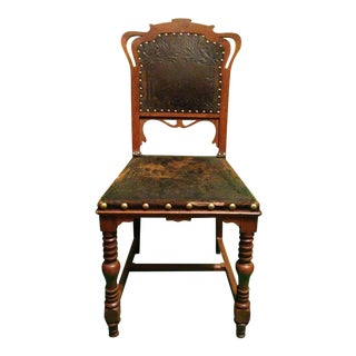 American Chestnut Embossed Leather Chair