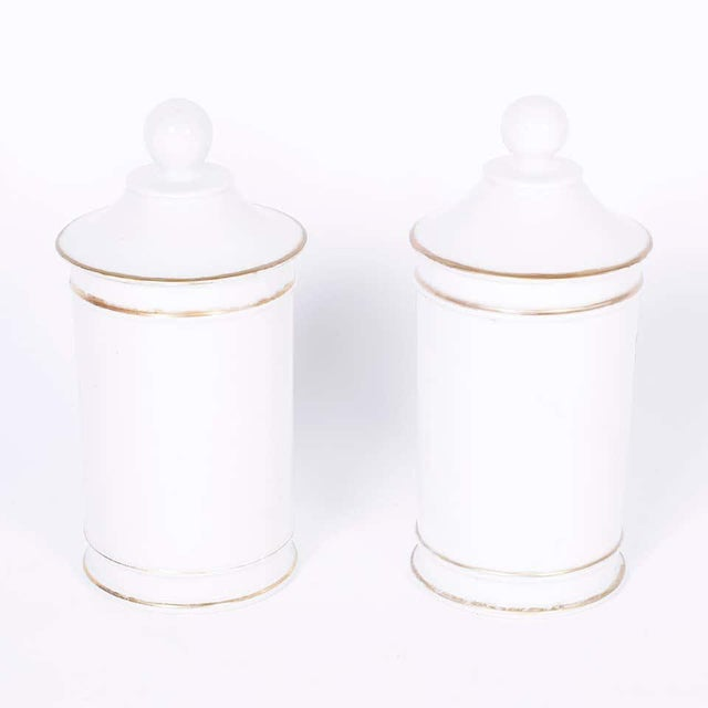 1920s 1920s French Porcelain Apothecary Jars - a Pair For Sale - Image 5 of 8