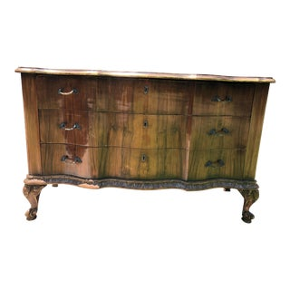French Distressed Wood Bow Front Chest