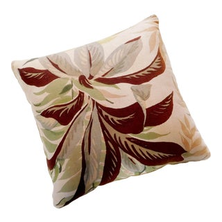 Camel Color Velvet Back Botanical Pillow For Sale