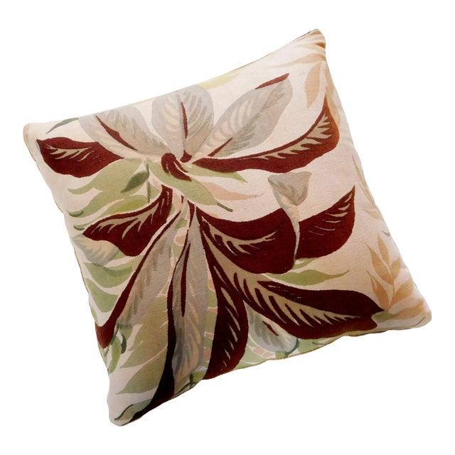 Camel Color Velvet Back Botanical Pillow For Sale