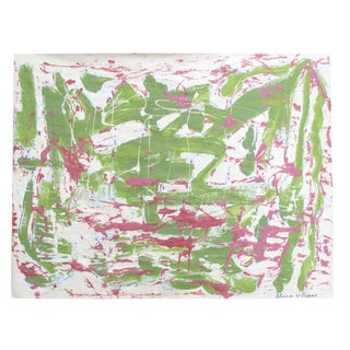 Suga Lane Green & Pink Abstract Painting on Vintage Paper